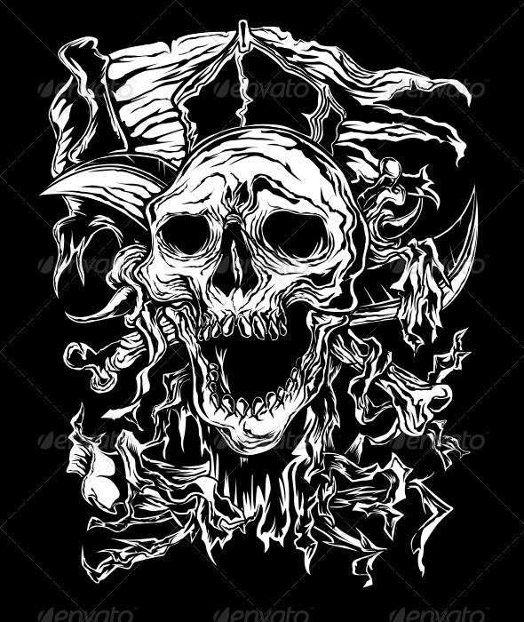 Pirate Skull - Tattoos Vectors