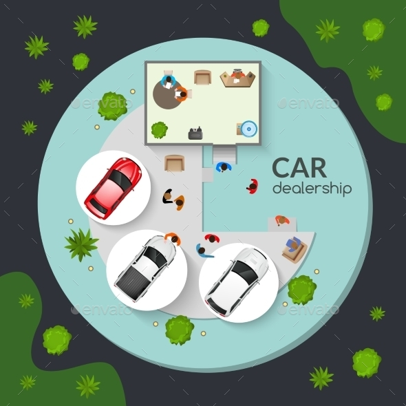 Car Dealership Top View Flat Poster - Man-made Objects Objects