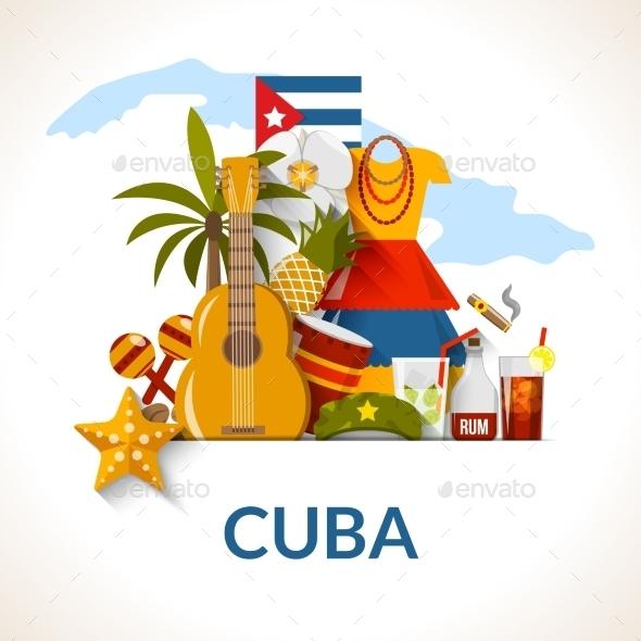 Cuban National Symbols Composition Poster Print - Travel Conceptual