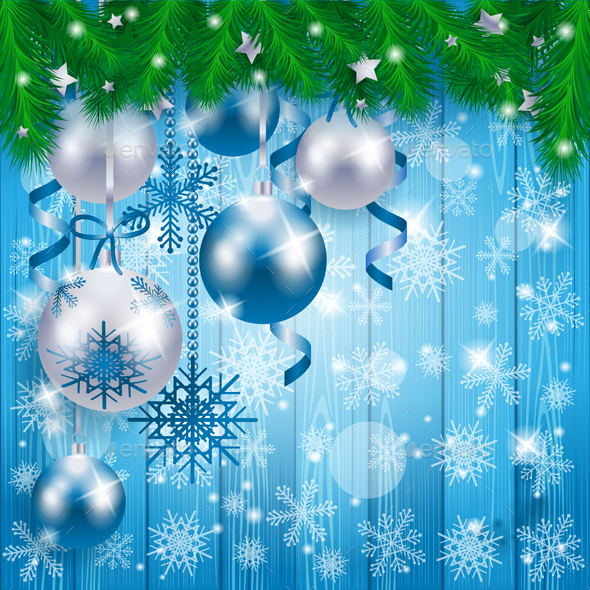 Christmas Baubles on Wooden Background, in Blue - Christmas Seasons/Holidays