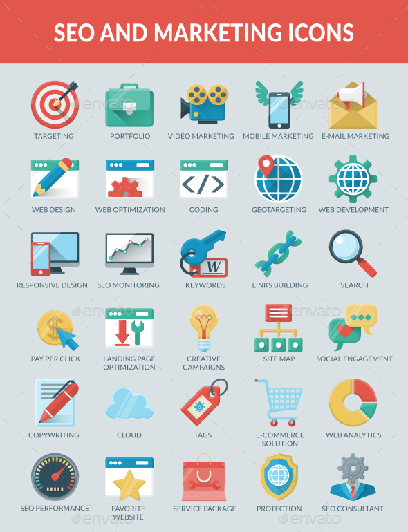 SEO and Marketing icons - Web Icons