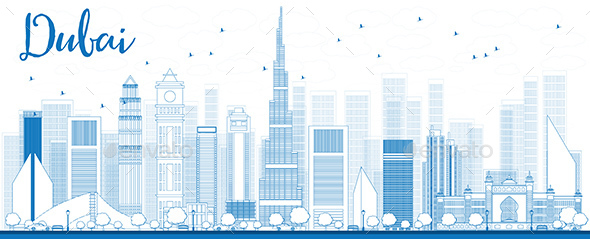Outline Dubai City Skyline with Blue Skyscrapers. - Buildings Objects