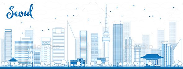Outline Seoul Skyline with Blue Buildings. - Buildings Objects