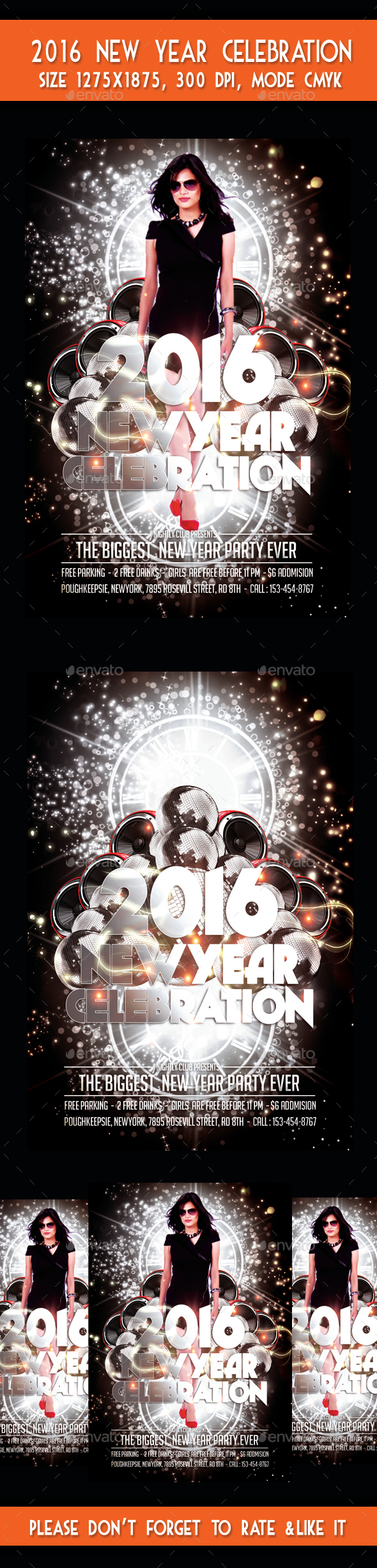 New Year 2016 Celebration Party Flyer - Flyers Print Templates