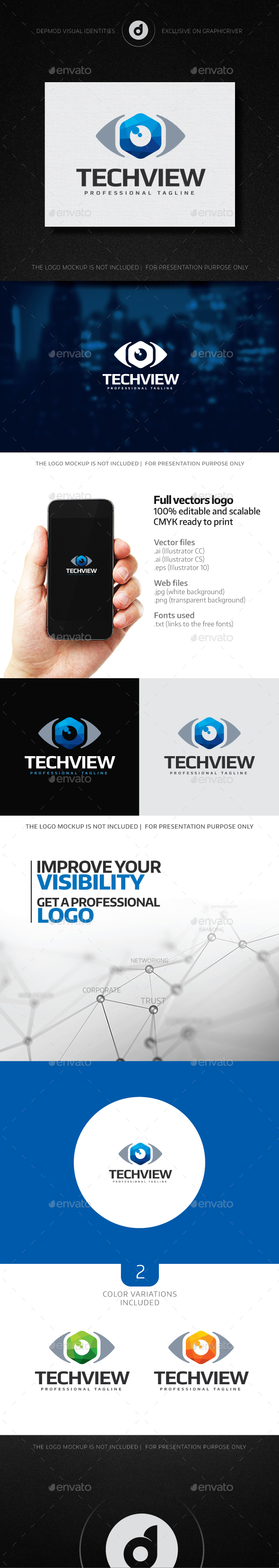 Tech View Logo - Abstract Logo Templates