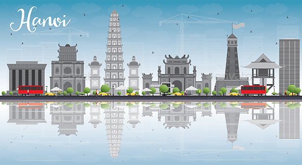 Hanoi Skyline with Gray Landmarks - Buildings Objects