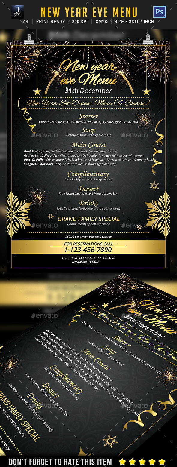 New Year Menu - Events Flyers