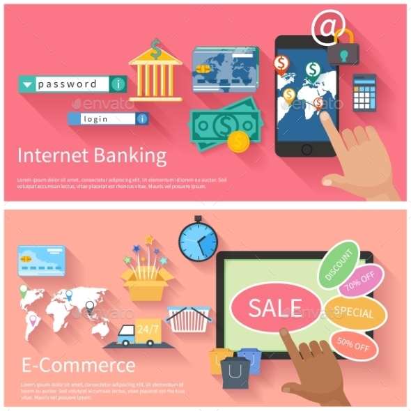 Internet Banking And E-commerce Concept - Concepts Business