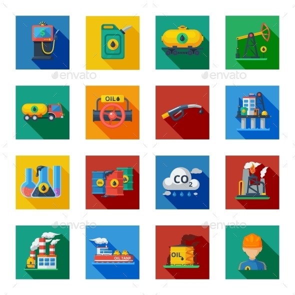 Oil Industry Icons Flat Set - Miscellaneous Icons