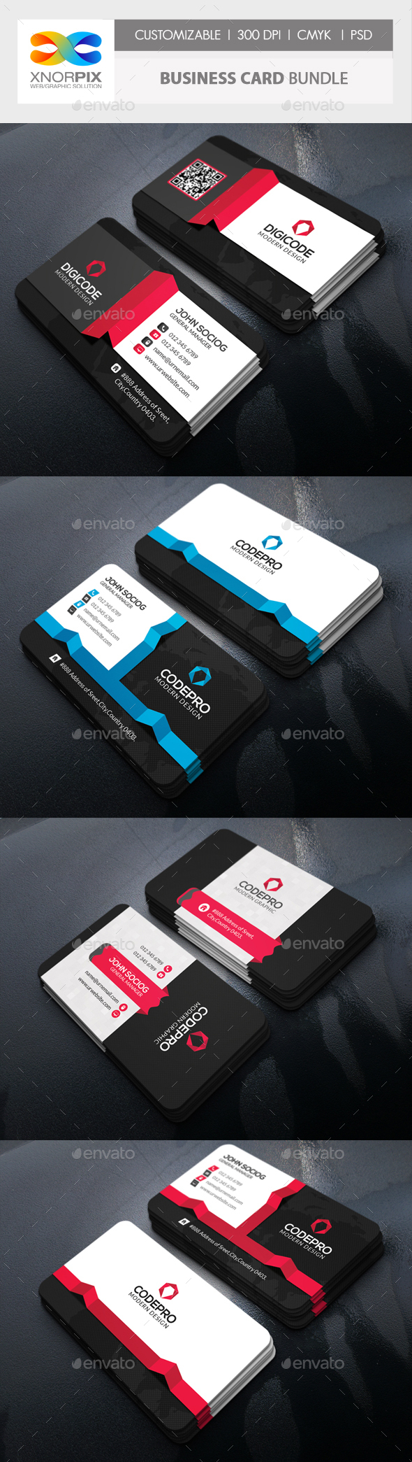 Business Card Bundle 3 in 1-Vol 65 - Corporate Business Cards