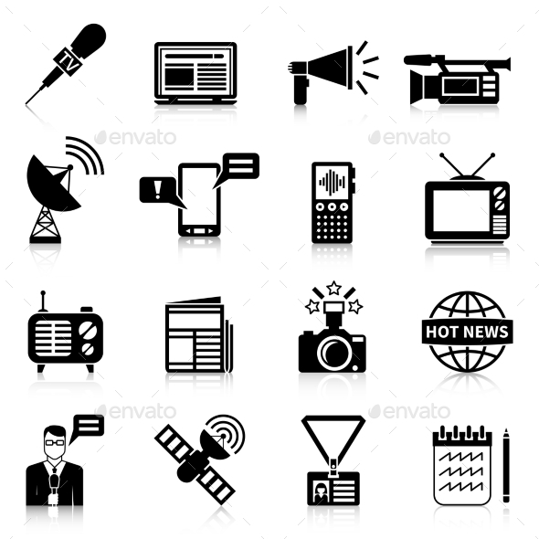 Media Black White Icons Set - Media Icons