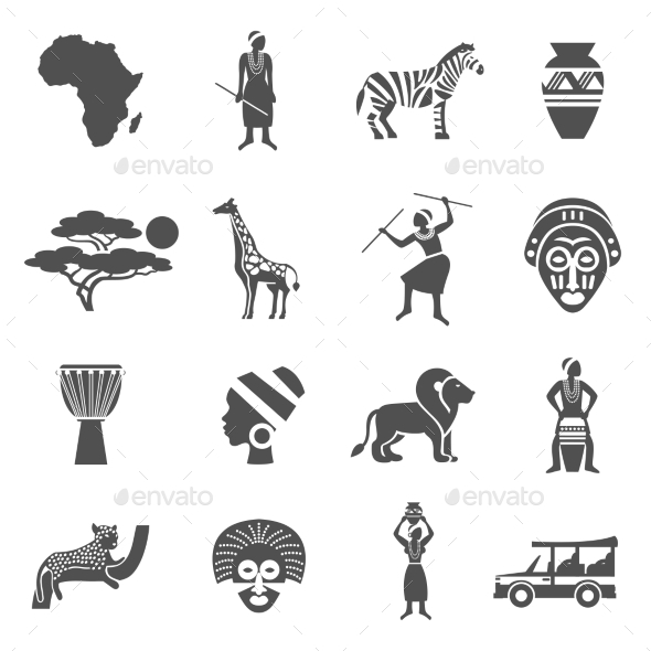 Africa Black White Icons Set - Characters Icons