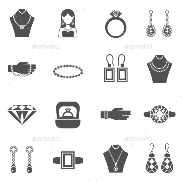 Jewelry Black White Icons Set  - Man-made objects Objects