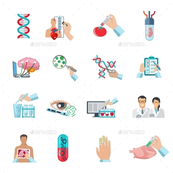 Flat Color Biotechnology Icons Set - Decorative Symbols Decorative