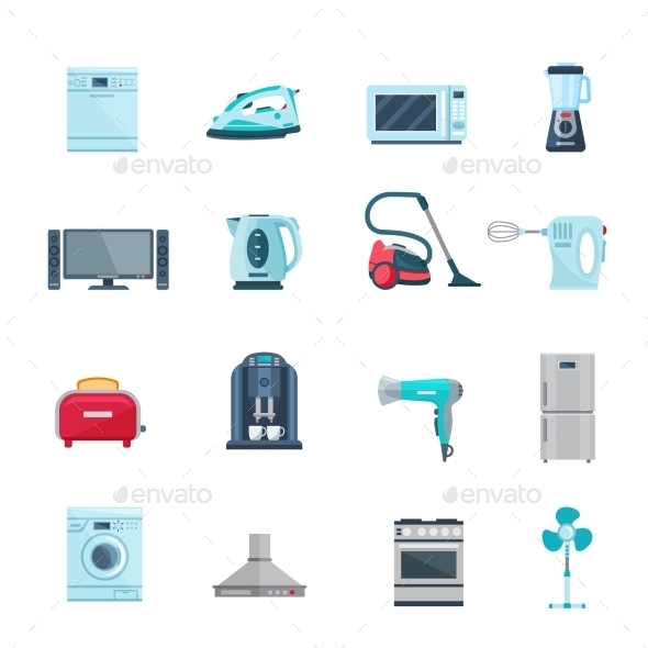 Flat Color Icons Set Of Household Appliances - Man-made Objects Objects