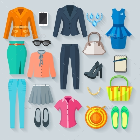 Color Woman Clothes Flat Icons Set - Retail Commercial / Shopping