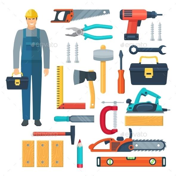 Carpentry Flat Color Icons Set - Decorative Symbols Decorative
