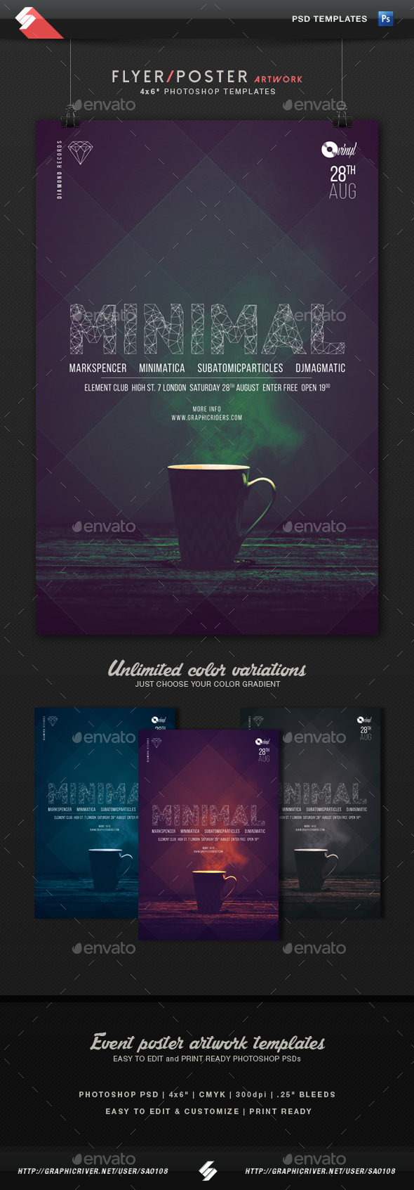 Minimal 2 - Party Flyer Artwork Template - Clubs & Parties Events
