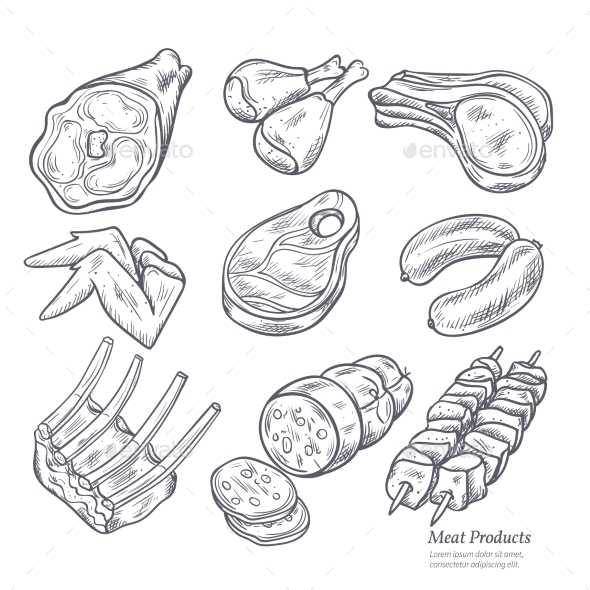 Gastronomic Meat Products Sketches - Food Objects
