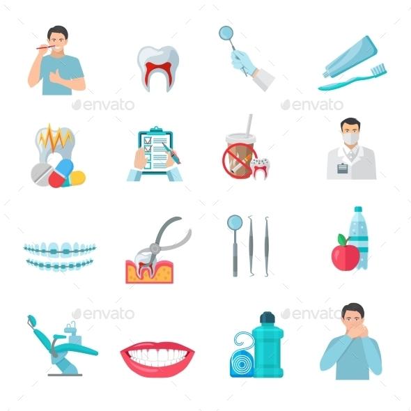 Flat Color Teeth Icons Set - Decorative Symbols Decorative