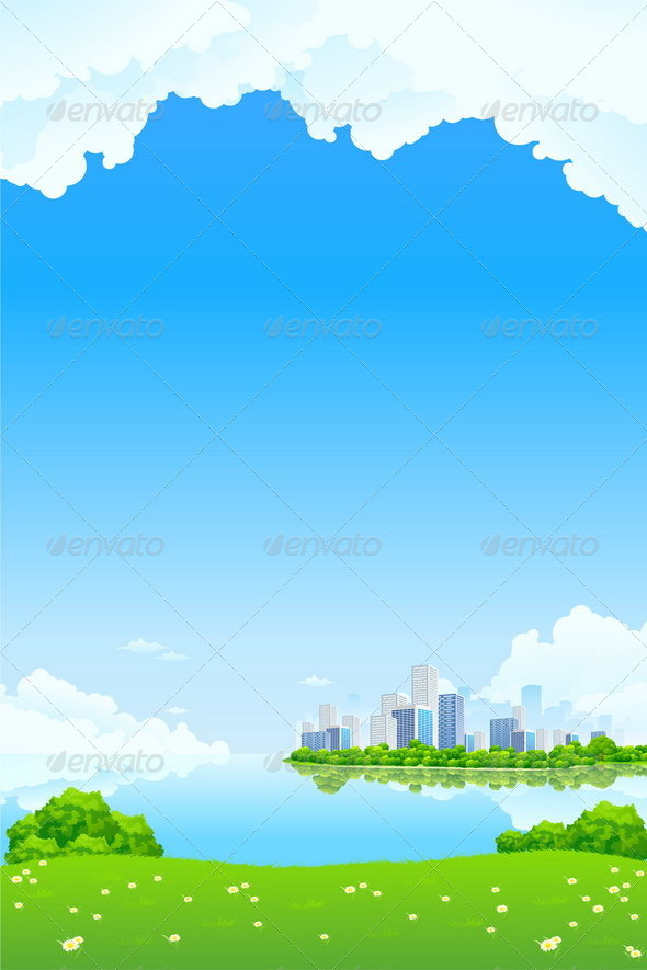 Green Landscape with Lake and City - Landscapes Nature