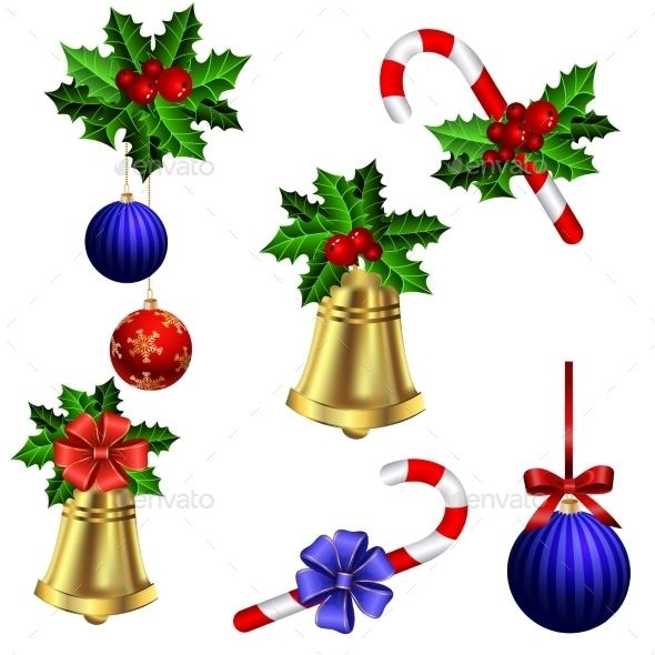 Green Christmas Garlands Of Holly - Christmas Seasons/Holidays