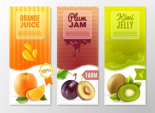Fruits 3 Ad  Vertical Banners Set - Food Objects