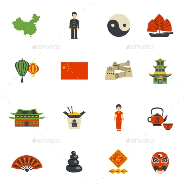 Chinese Culture Symbols Flat Icons Set By Macrovector Graphicriver