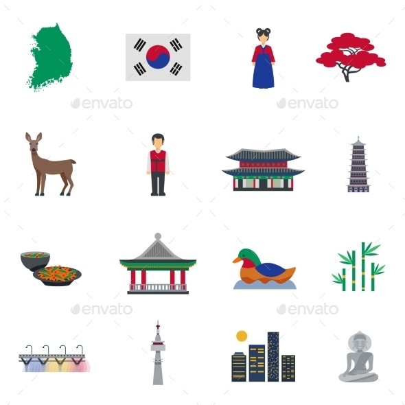 Korean Culture Symbols Flat Icons Set - Miscellaneous Icons