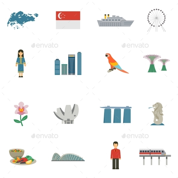 Singapore Culture Flat Icons Set - Miscellaneous Icons