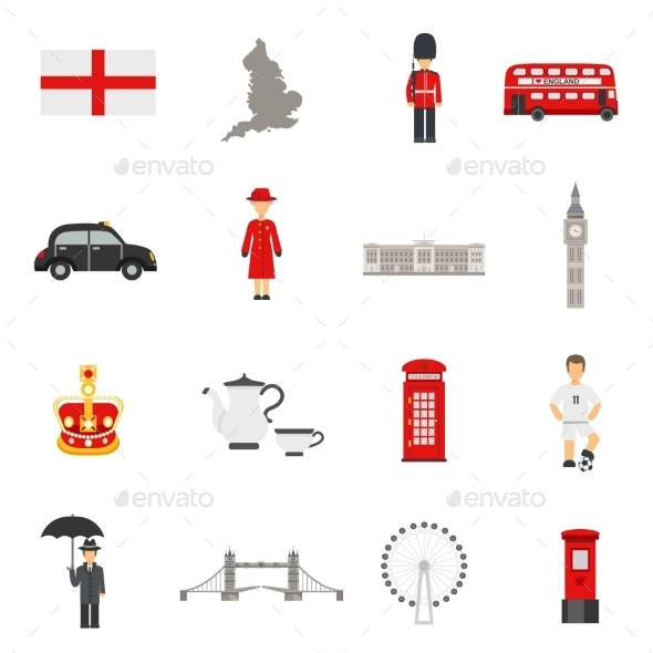 English Culture Flat Icons Collections - Objects Icons
