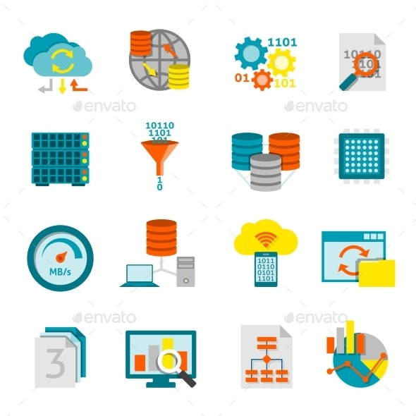 Database Analytics Flat Icons Set  - Software Icons