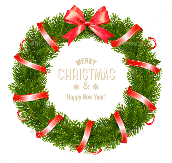 Gift Card with Christmas Wreath - Christmas Seasons/Holidays