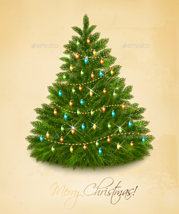 Merry Christmas Tree with Garland - Christmas Seasons/Holidays