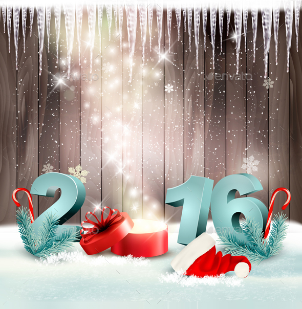 Holiday Background With A Gift Box And 2016 Vector - Christmas Seasons/Holidays