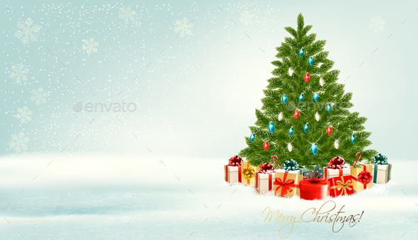 Holiday Christmas Background With Presents - Christmas Seasons/Holidays