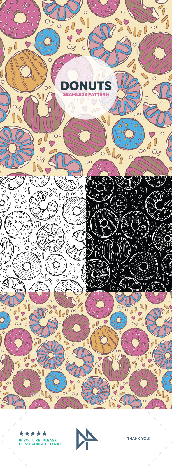 Donuts Seamless Pattern - Food Objects