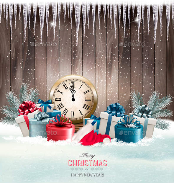 Winter Background With Presents And Clock. - New Year Seasons/Holidays