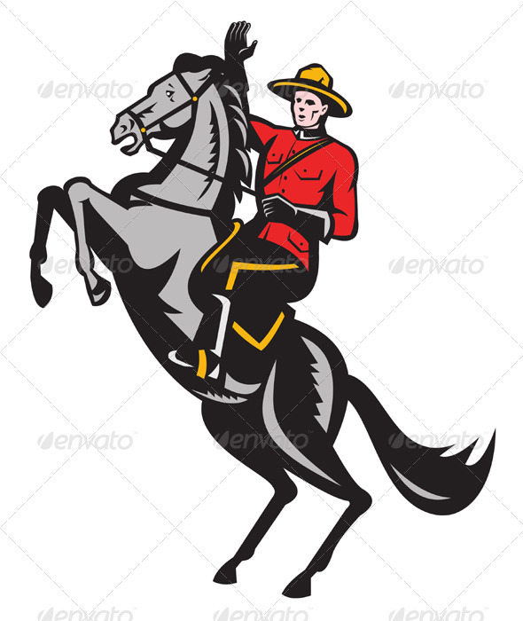 Canadian Mounted Police Mountie Riding Horse - People Characters