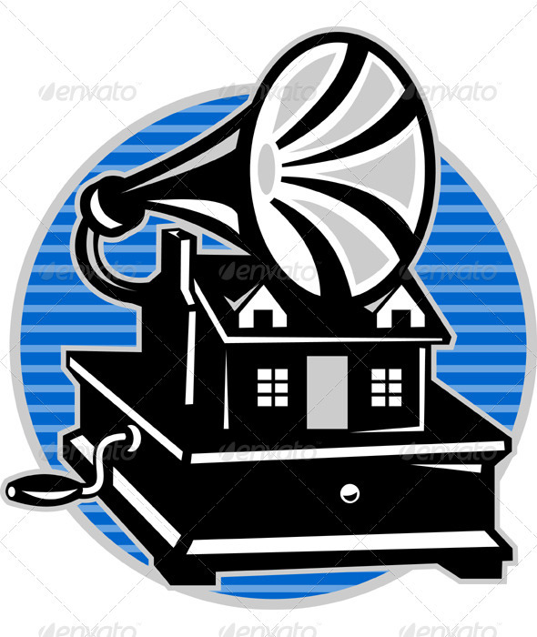 Vintage Gramophone With Old House  - People Characters