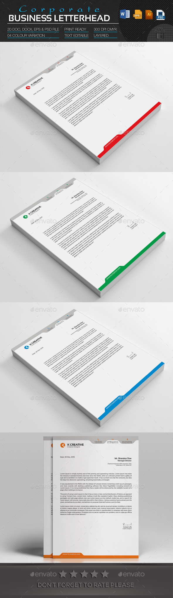 Corporate Business Letterhead - Stationery Print Templates