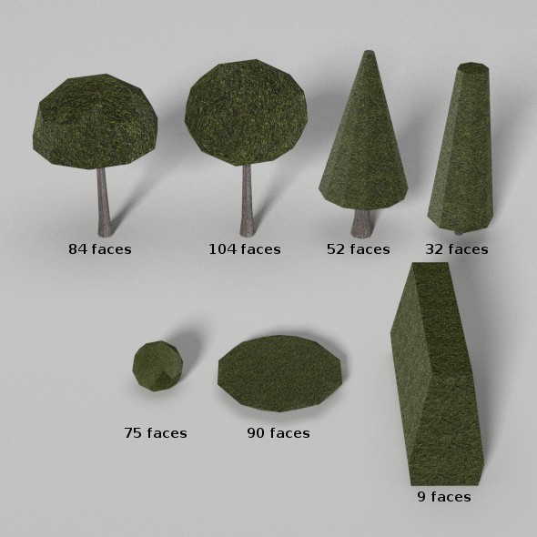 Low Poly Trees and Hedges - 3DOcean Item for Sale