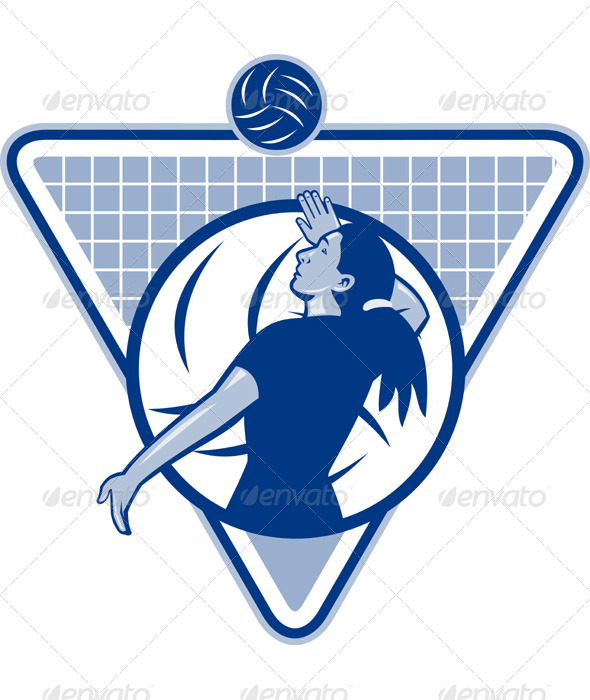 Volleyball Player Serve Ball Side Indoor - Sports/Activity Conceptual