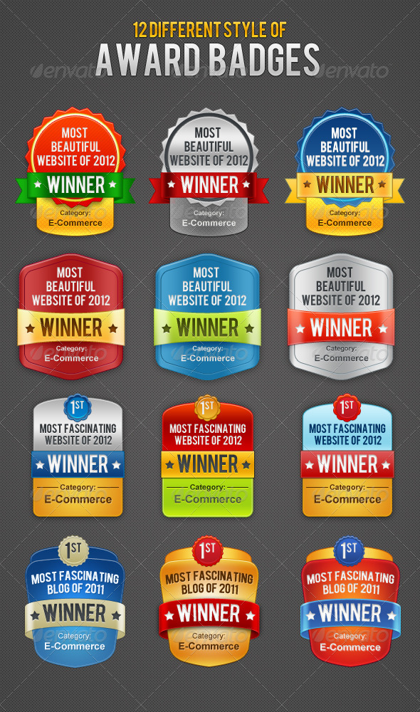 12 Colorful Award Badges - Badges & Stickers Web Elements