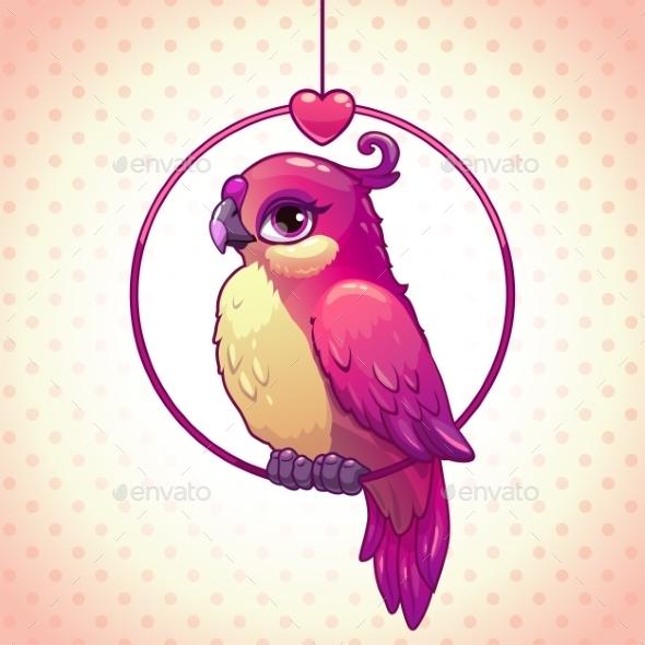 Cartoon Pink Girl Bird - Animals Characters