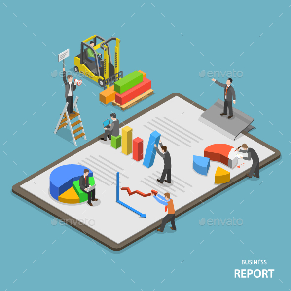Business Report Isometric Flat Vector Concept  - Concepts Business