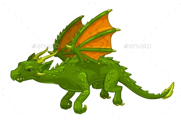 Green Cartoon Fantasy Dragon - Monsters Characters