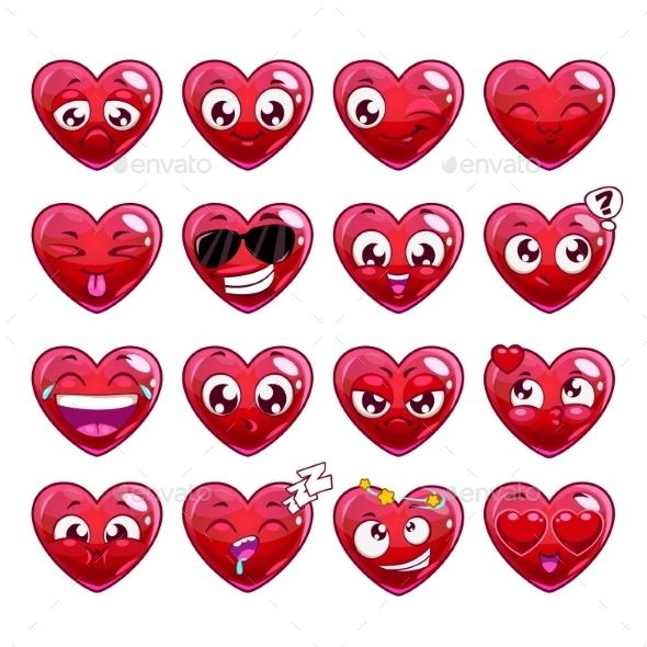 Cartoon Heart Character Emotions Set - Valentines Seasons/Holidays