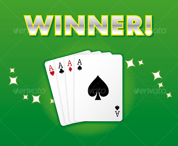 WINNING HAND: Casino Style Card Suite, All Aces! - Sports/Activity Conceptual