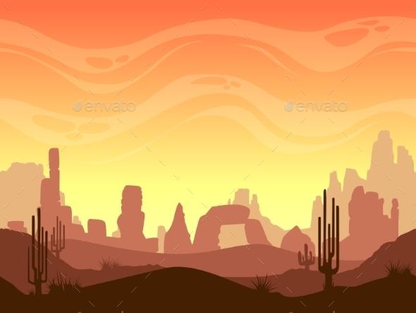 Seamless Cartoon Desert Landscape - Landscapes Nature